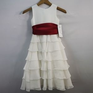 US ANGELS ORGANZA FLOWER GIRL DRESS 208 SIZE 5
